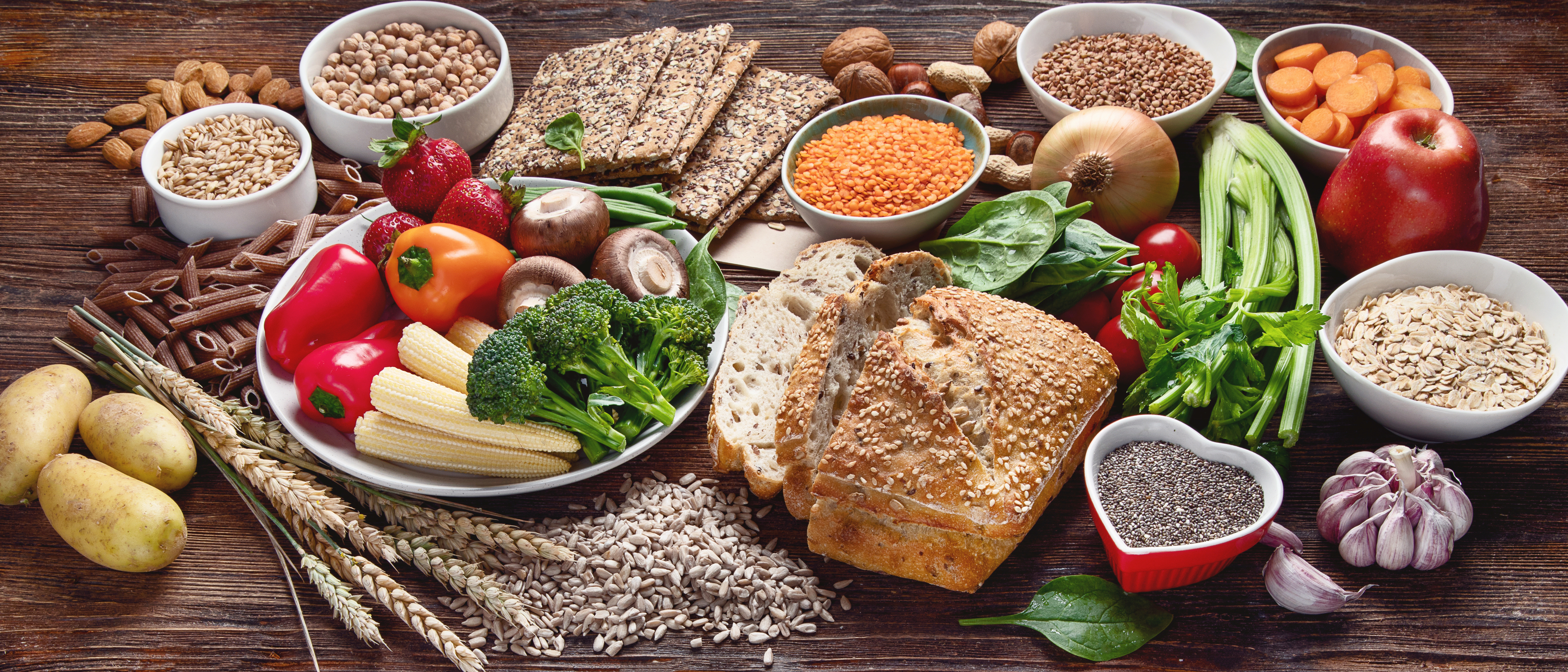 Healthy natural ingredients  containing  dietary fiber. Healthy high fiber diet eating concept with antioxidants and vitamins.  Panorama, banner