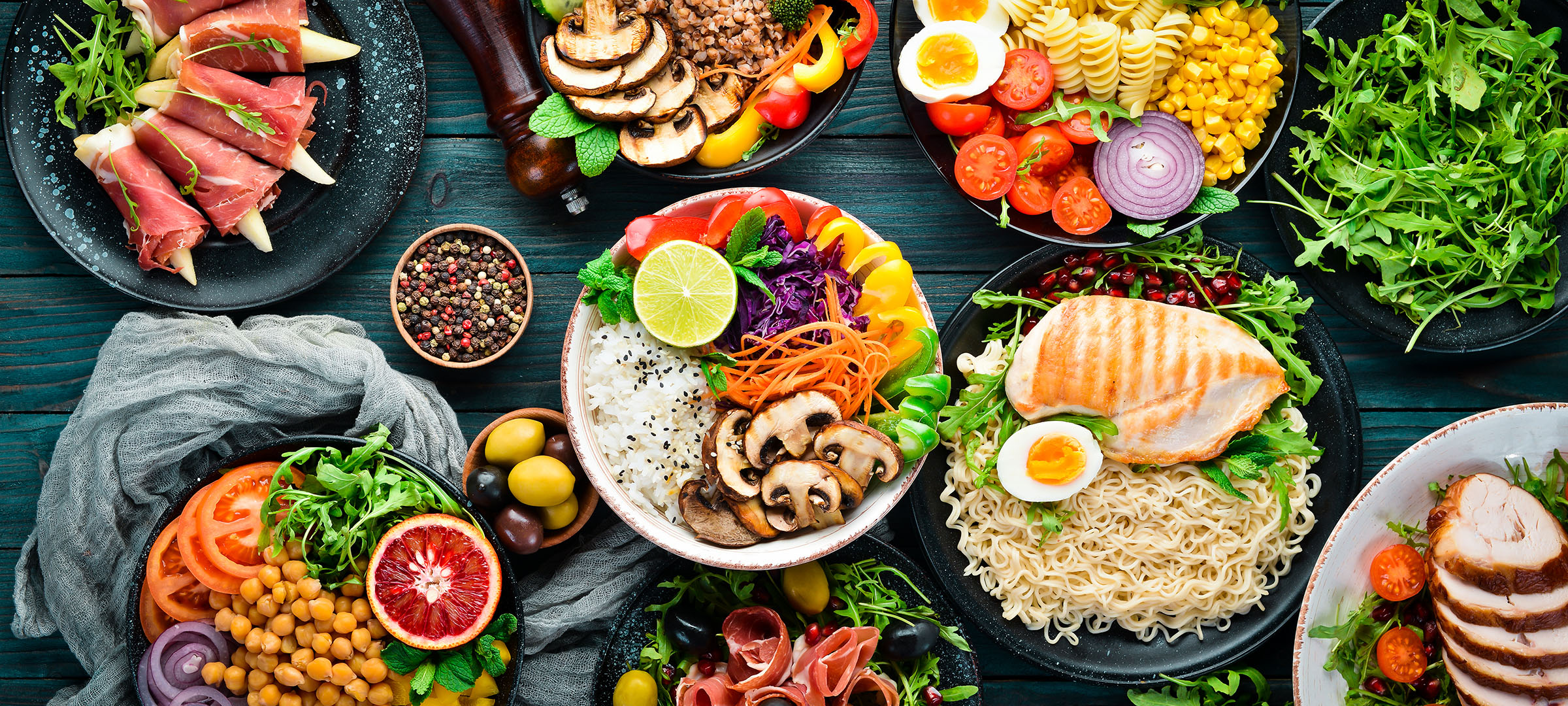 Assortment of healthy food dishes. Top view. Free space for your text.
