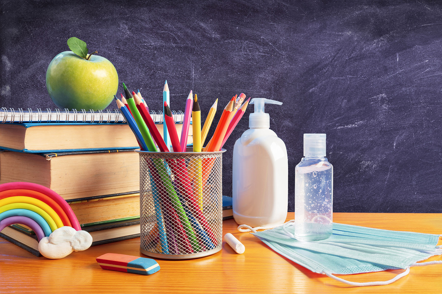 Back To School - Stationery With Covid-19 Protective Mask And Sa