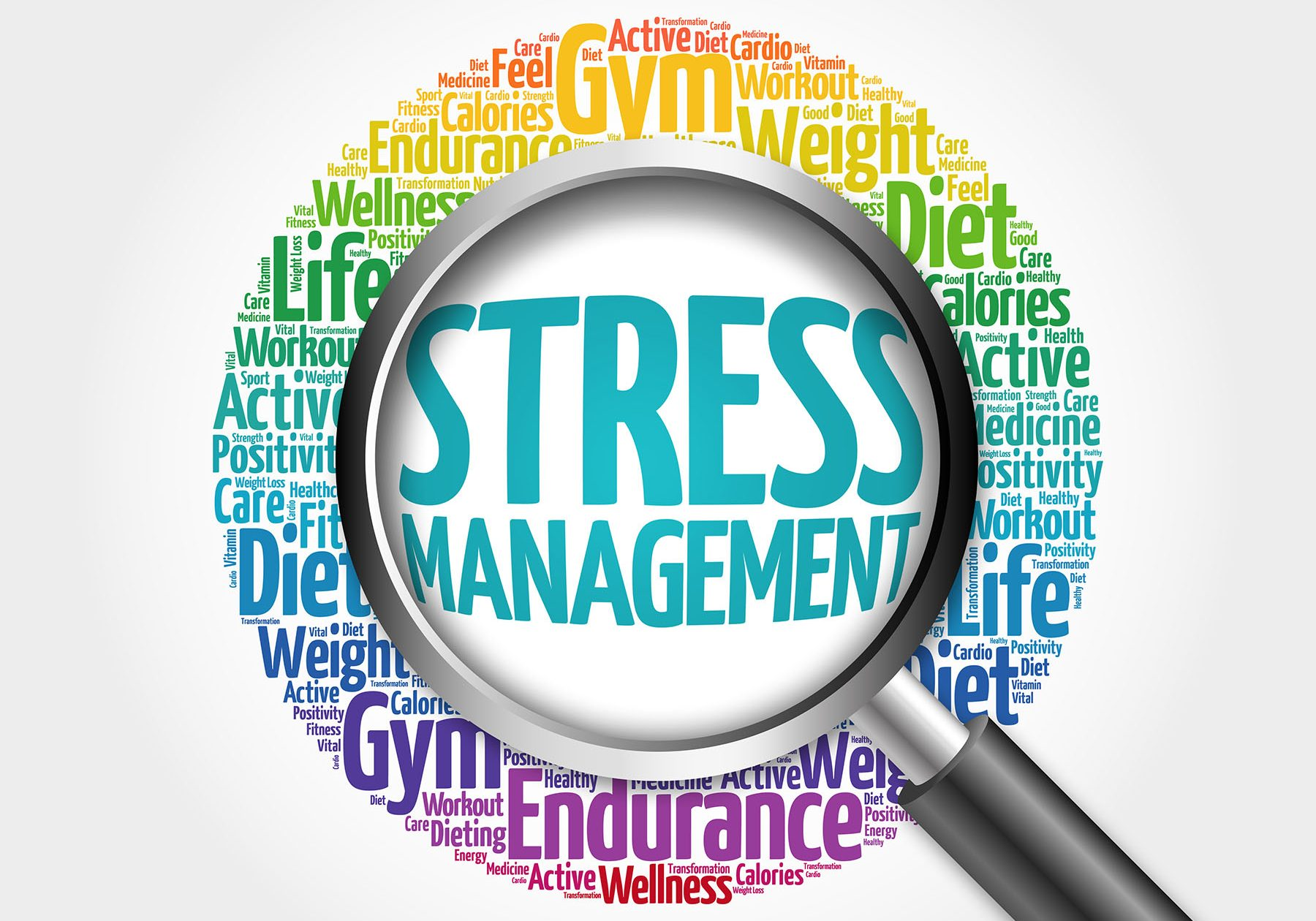 Stress Management word cloud with magnifying glass, health conce